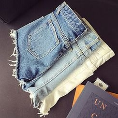 Frontline - Frayed Hem Denim Hot Pants