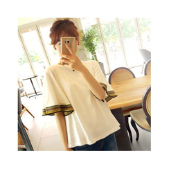 LEELIN - Kimono-Sleeve Embroidered T-Shirt