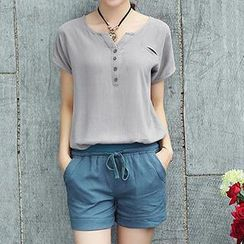 Romantica - Short-Sleeve Henley / Drawstring Shorts