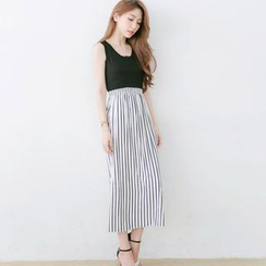 Tokyo Fashion - Gathered-Waist Striped-Panel Sleeveless Dress