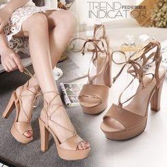 Monde - 結帶厚底高跟鞋