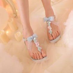 糖果雨 - 蝴蝶結矮船跟夾趾涼鞋