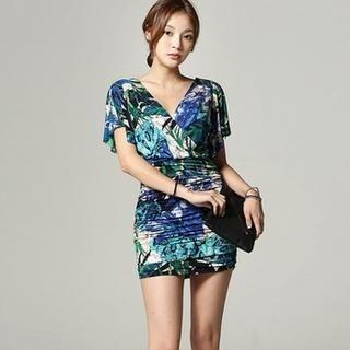 SARAH - Short-Sleeve Patterned Sheath Dress