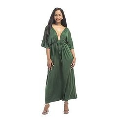 Hotprint - Plain Elbow Sleeve V-Neck Maxi Dress