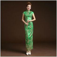 Posh Bride - Cap-Sleeve Embroidered Cheongsam