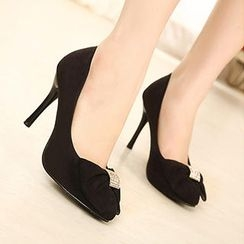 Mancienne - Bow Accent Stiletto Pumps