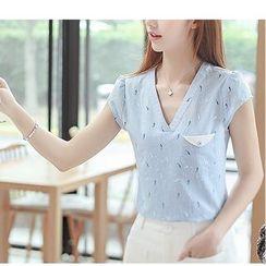 Fumoya - Printed V-Neck Short-Sleeve Blouse