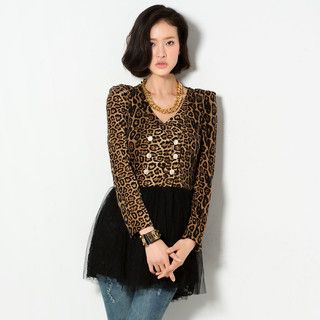 YesStyle Z - Mock Two-Piece Leopard Print Panel Tunic