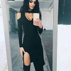 Hanni - Long-Sleeve Cutout Slit-Hem Sheath Dress