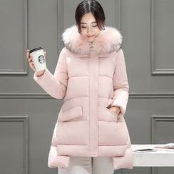 Mamaladies - Maternity Faux-Fur Hooded Padded Coat