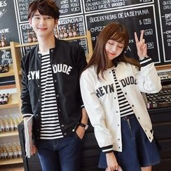 TOOI - Couple Matching Lettering Baseball Jacket