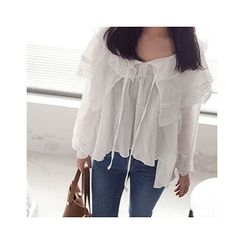 MASoeur - Tie-Neck Shirred Top