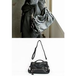 REDOPIN - Tassel-Detail Faux-Leather Shoulder Bag