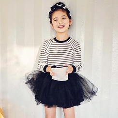 Cuckoo - 小童长袖条纹薄纱连衣裙