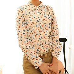 Colorful Shop - Long-Sleeve Patterned Chiffon Shirt