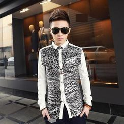 Free Shop - Long-Sleeve Leopard-Print Panel Shirt