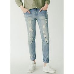 JOGUNSHOP - Straight-Cut Distressed Jeans