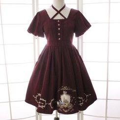 Reine - 印花蝴蝶结短袖连衣裙