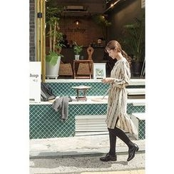CHERRYKOKO - Mandarin-Collar Patterned Shirtdress with Sash