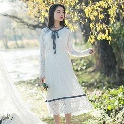 Sens Collection - Tie Neck Long Sleeve Midi Lace Dress
