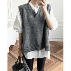 UPTOWNHOLIC - V-Neck Wool Blend Vest