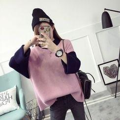 Qimi - Panel Mock-neck Knit Top