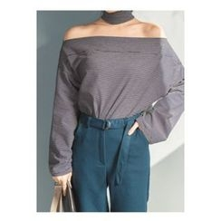 migunstyle - Cutout-Front Striped Top
