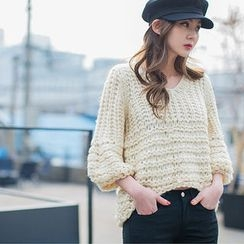 chuu - Balloon-Sleeve Chunky-Knit Sweater