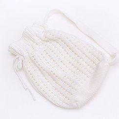 chuu - Drawstring Pointelle-Knit Bag