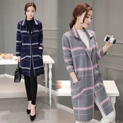 Purple Rose - Single-Button Plaid Coat
