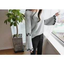 Hello sweety - Bell-Sleeve Patterned Sweater