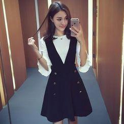 Ashlee - Set: 3/4-Sleeve Knit Top + Jumper Dress