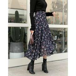 UPTOWNHOLIC - Asymmetric-Hem Flower Pattern Chiffon Long Skirt