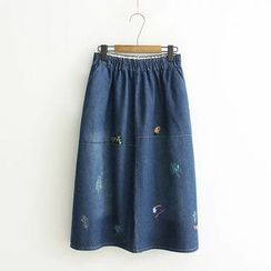 Musume - Embroidery Denim Long Skirt