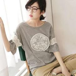 Tokyo Fashion - Elbow-Sleeve Rhinestone Lace-Panel Top