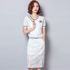 Tabla - Set: Stripe Trim Lace Short-Sleeve T-Shirt + Midi Skirt
