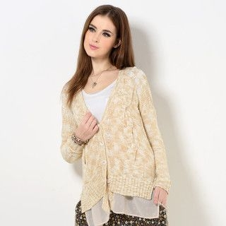 YesStyle Z - Sheer-Panel Cable-Knit Cardigan