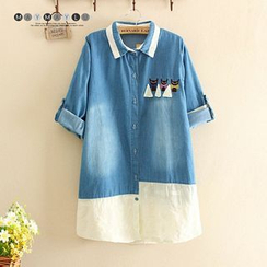 Maymaylu Dreams - Cat Embroidered Short-Sleeve Denim Shirt
