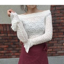 MATO - Off Shoulder Long Sleeve Lace Top