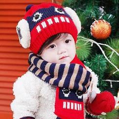 POMME - 童装套装: 机器人无边帽 + 球球装饰围巾