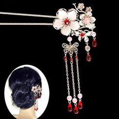 Paparazzi - Flower Butterfly Dangling Hair Pin