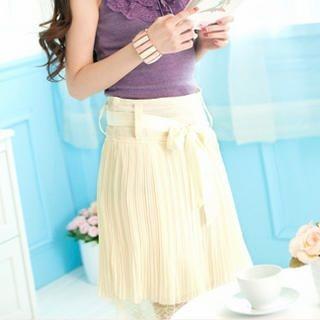 Tokyo Fashion - Pleated Lace-Hem Skirt with Sash
