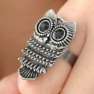 59 Seconds - Rhinestone Owl Rings