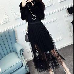 ZAPPA - 套裝: 小高領開衩長袖連衣裙 + 網紗中長裙