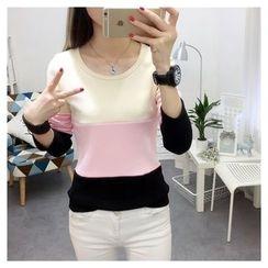 Emeline - Color Block Long-Sleeve T-Shirt