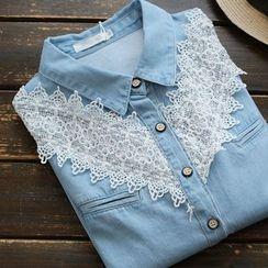 YOYO - 蕾絲拼接牛仔布襯衫