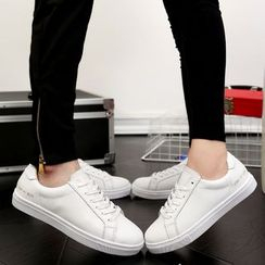 Easy Steps - Genuine-Leather Plain Couple Sneakers