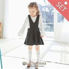 LILIPURRI - Set: Ruffle-Sleeve T-Shirt + V-Neck Sleeveless Dress