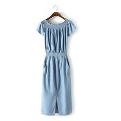 Ainvyi - Shirred Off Shoulder Denim Dress