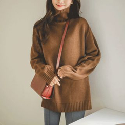 JUSTONE - Turtle-Neck Drop-Shoulder Sweater